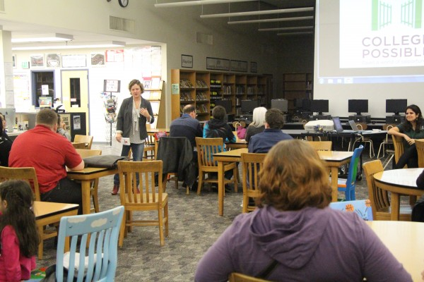 IB Coordinator Kathy Childress opening up the IB Information Night on Feb.11. to parents and students.