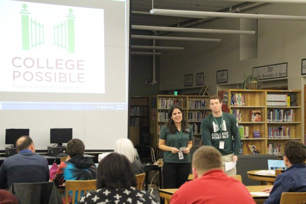 College Possible administrators Yasmine Flodin-Ali and Hayes Gardner opening up their presentation.