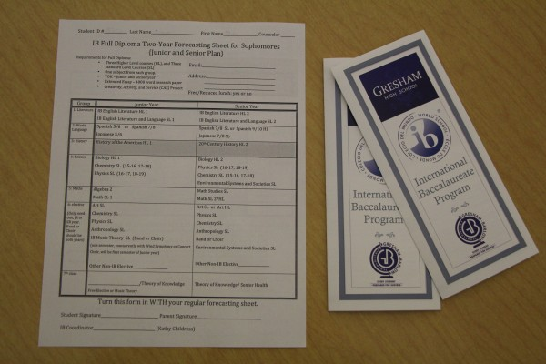 Forecasting sheet and brochure for Sophomores who are interested in joining the IB Program.