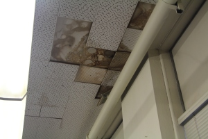 Tiles on the ceiling of the school have long decayed through leaks and create an overhead danger to students and staff alike walking unsuspectingly underneath.