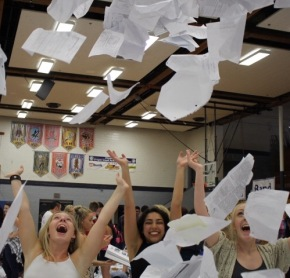 Seniors toss away their high school worries in annual 'Paper Toss'